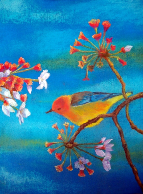 Bird & Flowers by Jan Cavanagh (student). Pastel & Acrylic on canvas board
