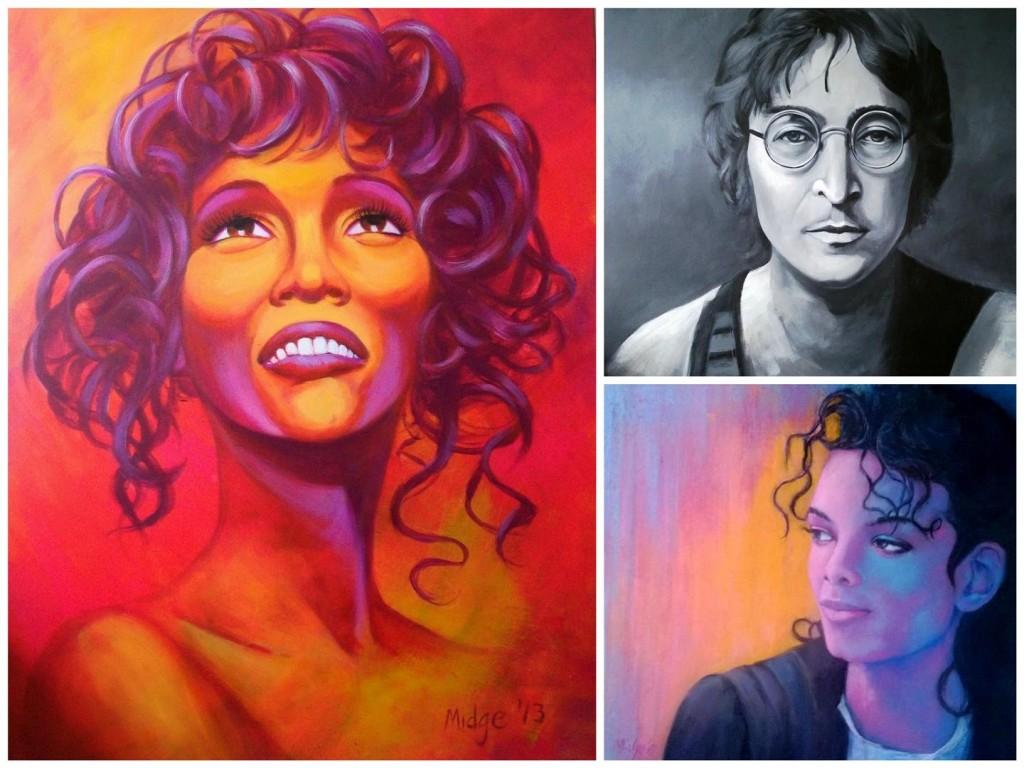 Compilation of celebrity portraits including Whitney, John Lennon (Acrylic) & Michael Jackson (Acrylic & Pastel)