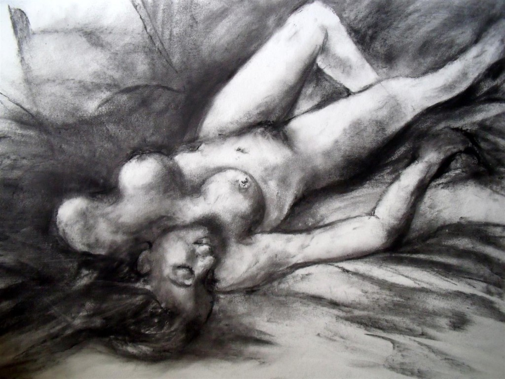 Female Nude (Life Drawing), Charcoal on pastel board