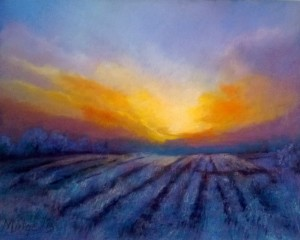 Winter Sunset, Pastel, 40 x 50 cm