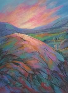 Pink Skies in the Valley, Pastel 60 x 50 cm