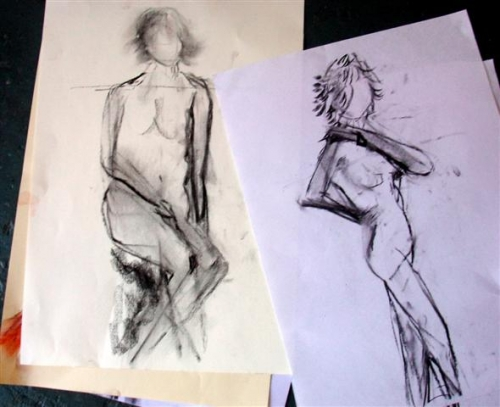 Charcoal sketch - standing & sitting poses