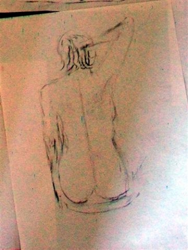 Charcoal sketches -back view