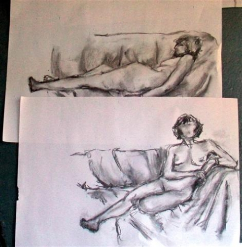 Charcoal sketches - various lying down poses