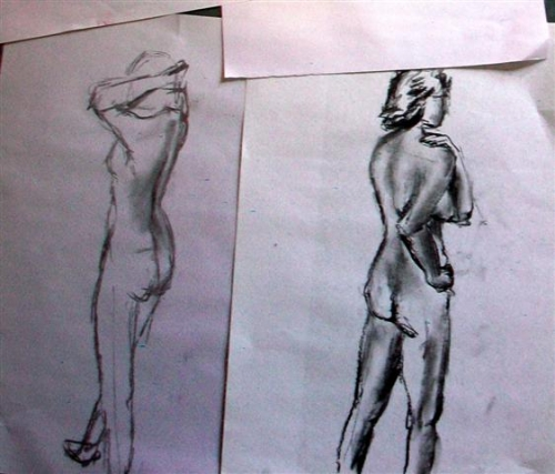 Charcoal sketches - standing poses