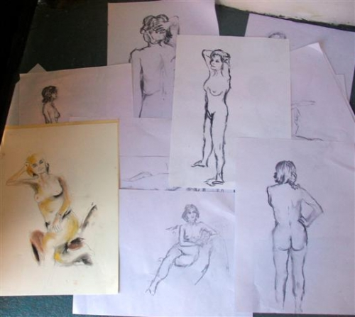 Charcoal & pastel sketches - various poses