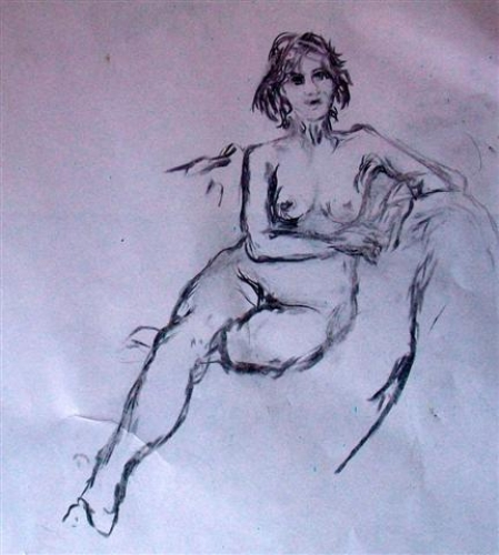 Charcoal sketches - seated pose