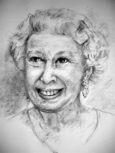 Her Majesty the Queen in Charcoal
